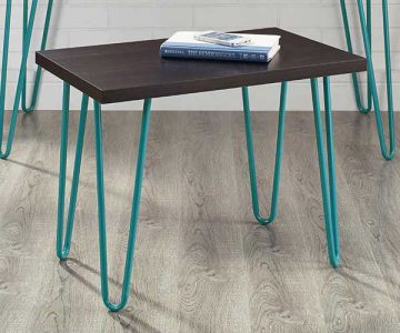 Retro Stool with Teal Metal Legs