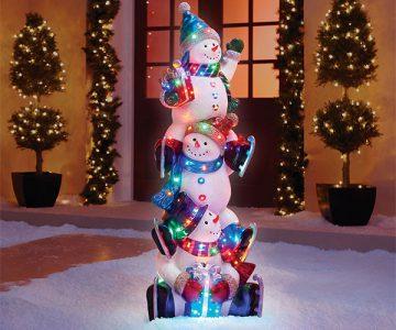 5' Illuminated Snowman Totem Pole