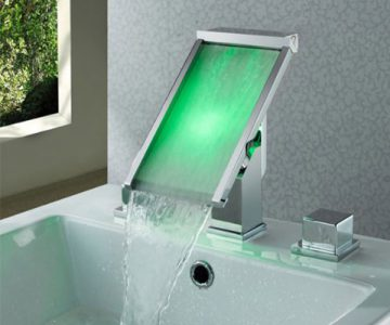 LED Waterfall Bathroom Sink Faucet