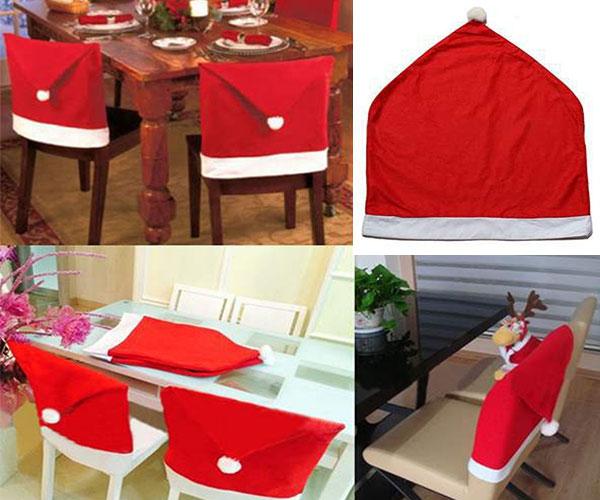 Santa Claus Hat Chair Covers