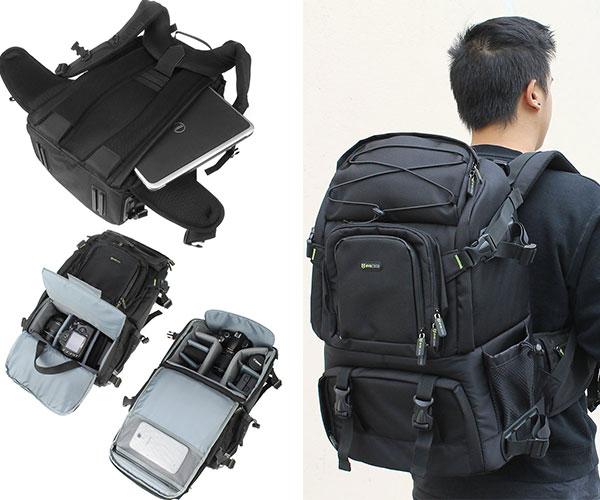 Evecase Canvas DSLR Travel Camera Backpack