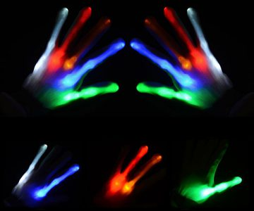 Glow LED Flashing Light Finger Bone Gloves