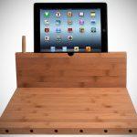 Bamboo Cutting Board with iPad Stand