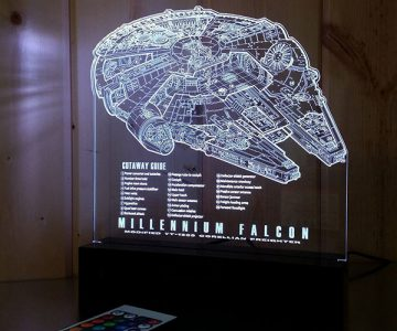 Millennium Falcon Laser Engraved LED Light