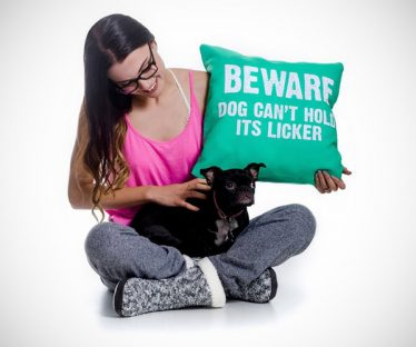 Beware Dog Can't Hold its Licker Pillow