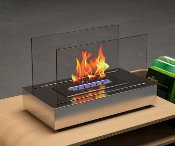 Moda Flame Stainless Steel Table Top Fireplace